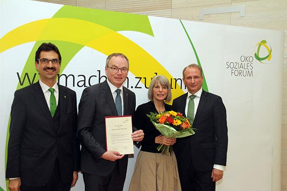 Juryvorsitzender Martin Gerzabek,  Stephan Pernkopf, Preisträgerin Gerlind Weber und Laudator Kurt Weinberger