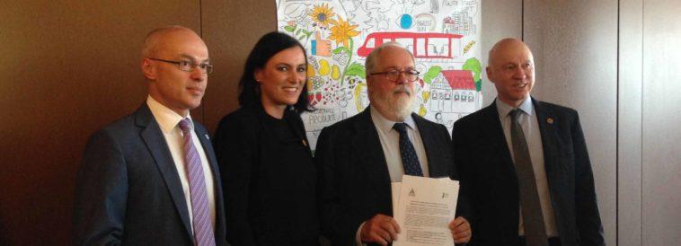 Franz Maier, Elisabeth Köstinger, Miguel Arias Cañete und Jeremy Wates