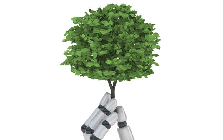 Roboterhand hält Baum