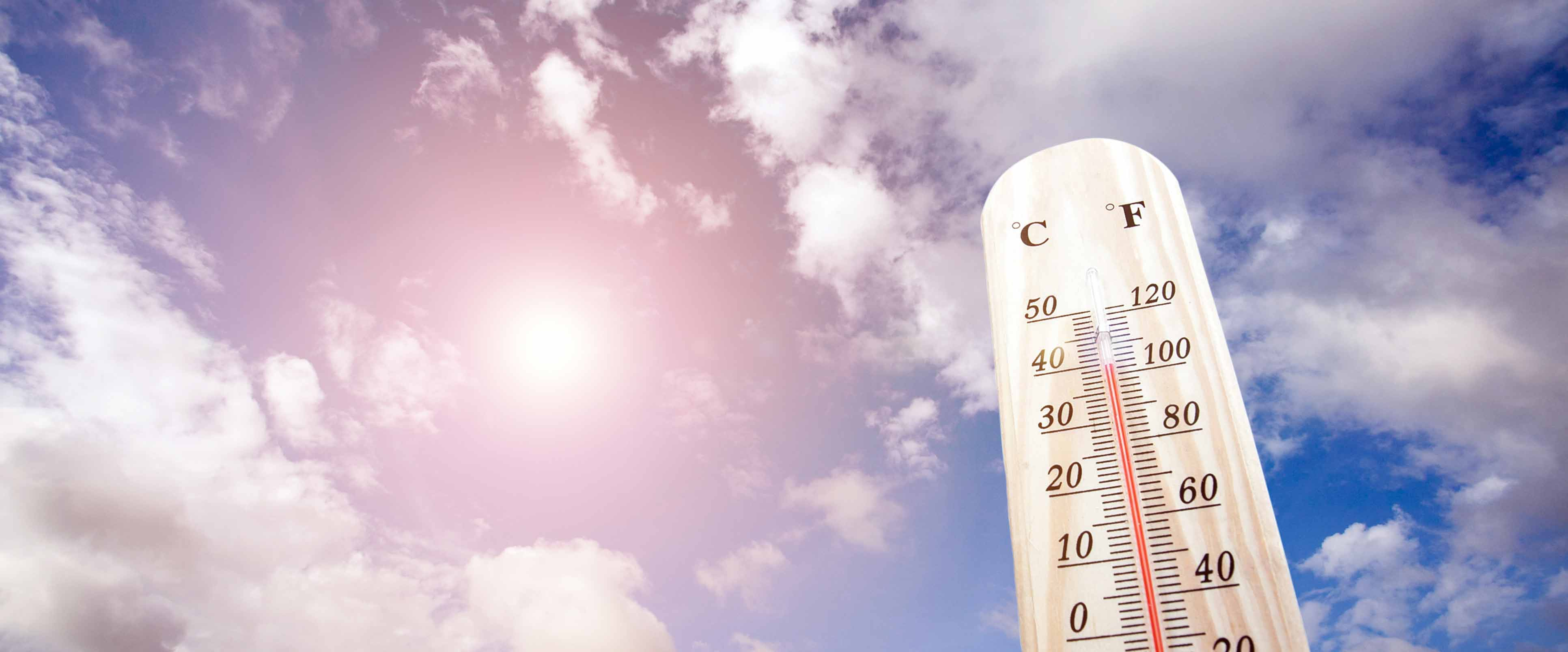 Thermometer in praller Sonne zeigt 40 Grad Celsius