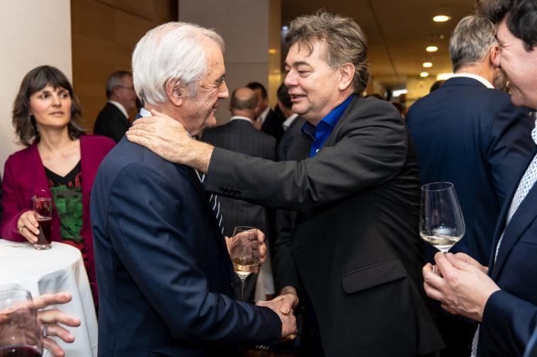 Werner Kogler gratuliert Josef Riegler