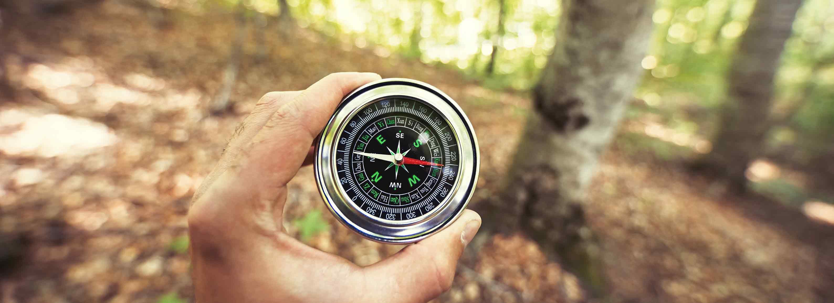 Kompass in der WHand im Wald
